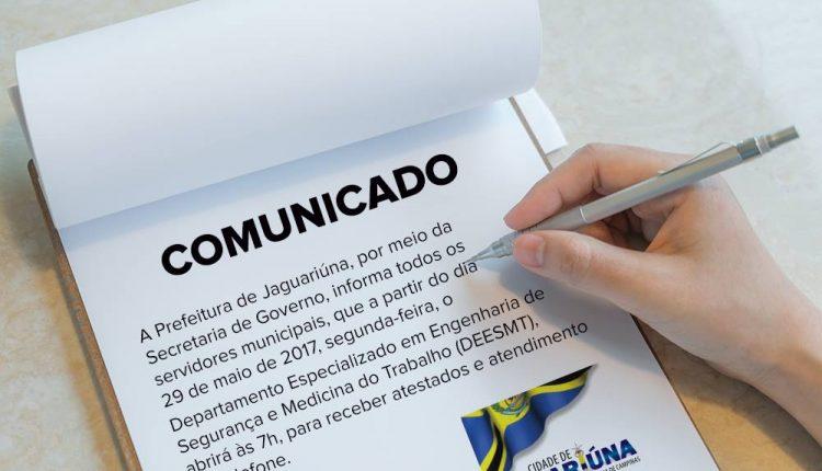 Comunicado – DEESMT